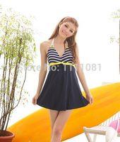 Cheap Wholesale-Wholesale-V.S. DressTan kini swimwear swimsuit 1 one piece skirt women,cheap bather Navy White strip Bathing suit-Free shipping