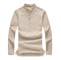 Wholesale Asian fashion mens pullover shirt longsleeve linen shirts collarless shirt men camisas manga comprida AY197