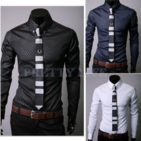 Cheap Wholesale-Hot! 2015 New Men Slim Fit Silk Mens Designer Stripes Dress Shirts Tops Casual Slim long shirts 3colors M,L,XL,XXL 36