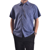 Cheap Wholesale-2015 New Design Silk Shirt,Fashion Top Grade Mulberry Silk Shirt Printed,Grey And Blue Man shirt For Summer