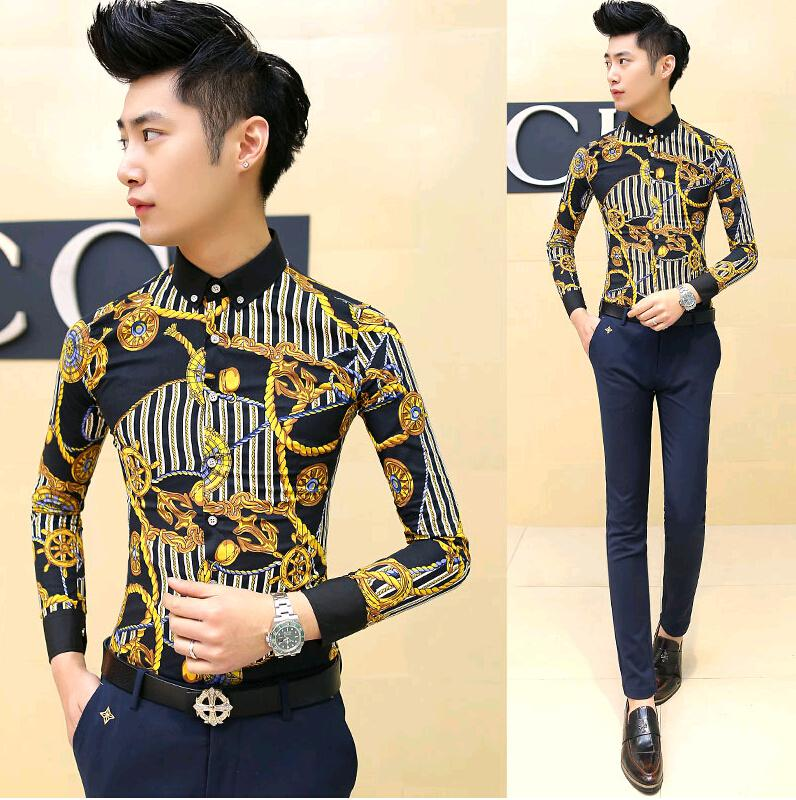 Wholesale-New 2015 Fashion Spring Gold Vintage Men's Clothing Long Sleeve Slim Fit Dress Shirt Male Mens Shirts Casual Flower Shirt