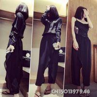 Wholesale New Fashion Women Lady Chiffon Wrap Split Skirt Pants Harem Trousers Long Culottes Black Summer Size S