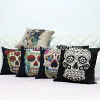 Cheap Wholesale-43cm*43cm Home Decoration Vintage Cotton Linen Skull Pillowcase Skull Cushion Cover Pillow Case Pillowcase Sofa Bed Cars Covers