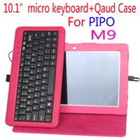 "Cheap Wholesale-New Hot selling luxury sold business Russian Micro Keyboard Case cover For pipo M9 pipo m9 pro 10.1"" tablet pc Free shipping"