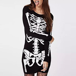 Wholesale Fall New Bestsellers Lady Personality Dress Skeletons Printed Long Sleeve Slim Dress Skinny Casual Bottoming Dress GD096