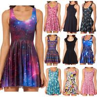 air express - New Women Galaxy Dress Black Milk Dress Galaxy Purple Reversible Skater Dress Print Dresses Plus Size China Air Express