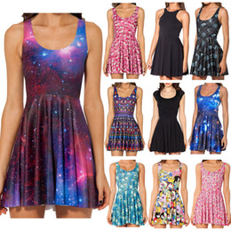 Wholesale New Women Galaxy Dress Black Milk Dress Galaxy Purple Reversible Skater Dress Print Dresses Plus Size China Air Express