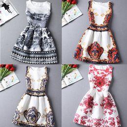 Wholesale-Hot sale New 2015 Fashion A-Line dress women casual vintage dresses flower print sleeveless Vestidos dress