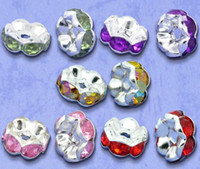 Wholesale 1000PCS silver Mixed SP Rhinestone Rondelle Spacers Beads mm