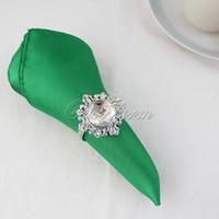 Wholesale Emerald Dark Green Satin Table Dinner Napkin quot Square Pocket Handkerchief Multi Purpose Wedding Party