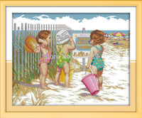 baby dimensions - Babies Play in the Beach Counted CT CT Unfinished DMC Cross Stitch DIY Dimension Cross Stitch Kits for Embroidery Needlework