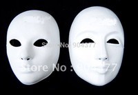 blank mask - Thicken Plain White Masquerade Party Masks Full Face Paper Pulp Blank Mask DIY Fine Art Painting Masks