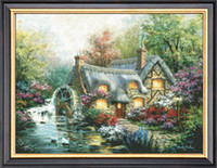Wholesale Needlework Crafts Gift Home Decor French Dmc Quality Counted Cross Stitch Kit Oil Painting 14 Ct Country Retreat