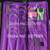 Wholesale Aluminum Knitting Needle Kits Straight Needles Ring Needles Set Circular Needlework Crochet Hooks Set Hand Tool PU bag