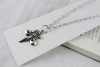 3PCS Tibetan Silver Fleur de lis Pendant Necklace #20084