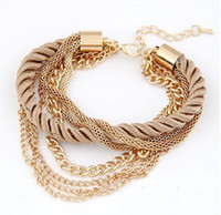 african rice - European and American fashion rice gray low key costly weave multilayer bracelet