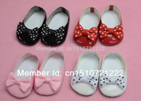 Wholesale Doll clothes shoes fit quot American Girl Doll flat shoes with dot print ribbon bow colors