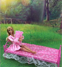 wholesale promotion classical dolls furniture set dolls bed outfit bedsheetpillow 3 piece set for barbies dolls girl nice birthday gift cheap barbie barbie dollhouse furniture cheap