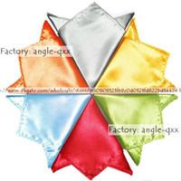 Wholesale Pocket square satin Hankerchief kerchief mocket men s mocketer noserag colors pocket handkerchief