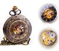 Wholesale Hot Sale Steampunk Skeleton Mechanical Pocket Watch For Men Fashion Vintage Mechanical Clock Watch Roman Numeral Dial
