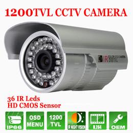 Vidéos hd ir gratuits en plein air en Ligne-H.264 CCTV Camera 1200TVL extérieure HD étanche Menu OSD IR Night Vision Home Video Security Surveillance Camera Support gratuit