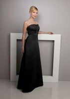 Reference Images Strapless Free Shipping A-line Black Strapless Ruched Bust Empire Stretch Satin Floor-length Bridesmaid Dress