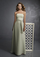 Reference Images Satin Simple Strapless Ruched Bodice Floor-length ORganza over Satin Bridesmaid Dress Evening Dress