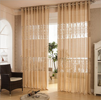 Wholesale Organza fabric curtain decoration European style stripe hollow out jacquard window screening blinds bedroom living room balcony