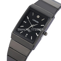 Wholesale Cheap Brand LONGBO Tag Ultra Thin Rectangular Watch Mens Women Stainless Steel Back Japan Movt Quartz Male Reloj Cuadrado Black