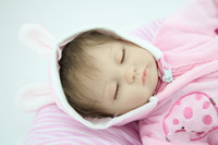 Cheap 18 inches Sleeping reborn baby doll handmade soft silicone vinyl baby alive doll lifelike hot toys