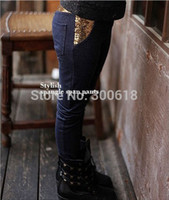 Wholesale Freeshipping piece Exclusive new autumn girls cotton baby sequins Denim Jeans