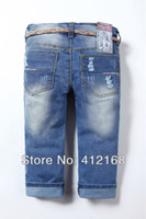 acid wash high - Retail Brand New Fashion Children s High Waist Acid Wash Girls Denim Pants Jeans Hole Bluefreeshipping Trousers