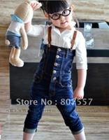 Precio de Vaqueros de las muchachas populares-El envío libre 5pcs / lot embroma 90-130cm los niños llevan ropa niños de los pantalones vaqueros girlsboys hermosas monos populares