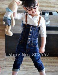El envío libre 5pcs / lot embroma 90-130cm los niños llevan ropa niños de los pantalones vaqueros girlsboys hermosas monos populares desde vaqueros de las muchachas populares fabricantes