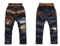 Wholesale NEW kids designer spring children s clothing girl Mickey Bear jeans baby child thickening long jeans