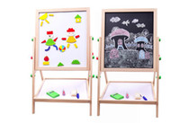 adjustable easel - High Quality Wood Double Face Adjustable Lifting Black White Drawing Board Writing Board Kids Easel