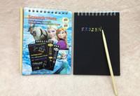 bamboo art pad - New arrival Frozen scratch art paper Creative kids pages scratch memo pad notebook sketchbook free bamboo pen