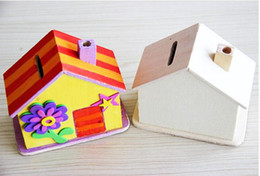 Wholesale DIY manual painting wooden house piggy bank Children s learning amp education drawing toys