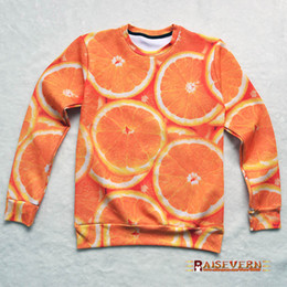 Wholesale New orange print D fruit sweat female male unisex autumn sweatshirt funny fruit mouth watering pullovers wholesales
