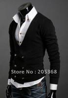 abb shirt - Hot Men s Sweater Men s Double platoon to buckle import abb knitting cardigan sweater shirts Black Gray Size M L XL