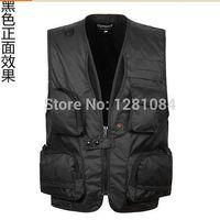 Cheap Wholesale-Men's cameraman vests Fishing waistcoat Man fisher director reporter vest Outdoor Sleeveless Coat Photographer Jacket for
