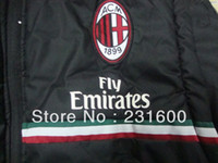 ac clothes - Two uses AC Milan Hooded Men s cotton padded clothes AC Milan soccer winter jackets coat Thai Quailty