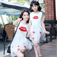 Wholesale Family matching outfit mom and daughter dress matching mother daughter clothes fashion Lips sleeveless mother daughter dresses