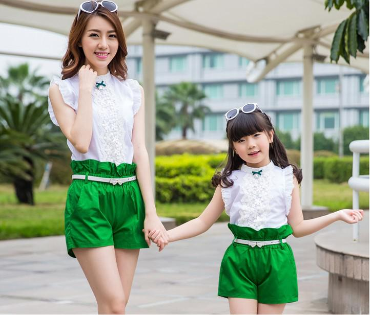 Cheap Dress Colors Cute Korean Ethnic Dress - Red Green Matching Mother Daughter Clothes Mommy And Me Clothes