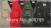 Cheap Wholesale-new 2015 spring autumn casual multi pocket Outdoor fishing vest men's waistcoats photography vest vests for men free ship