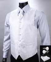 vest tops for men - VE04 White Floral Top Design Wedding Men Silk Waistcoat Vest Pocket Square Cufflinks Cravat Set for Suit Tuxedo