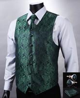 Wholesale VE10 Green Navy Blue Paisley Top Design Wedding Men Silk Waistcoat Vest Pocket Square Cufflinks Cravat Set for Suit Tuxedo