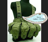 ak magazine vest - Outdoor tactical ride AK multi pocket magazine chest rig carry cs vest Green