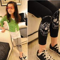 baby nz - NZ new arrive children black pants fashion girl skull design leggings autumn baby skinny pants Retail