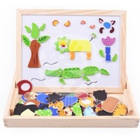 Wholesale Multifunction Children Animal Puzzle Wooden Writing Magnetic Drawing Blackboard Fantastic Easel Learning Education Toys good for kids